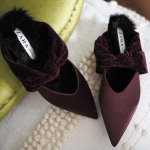 Zara Velvet Flats